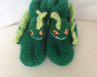Kids Green Dinosaur Slippers