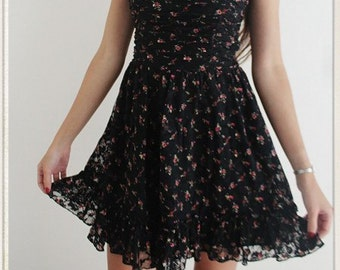 Gypsy floral lace baby doll dress