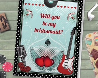 Printable Rockabilly Music Polka Dot Will You Be My Bridesmaid / Thank You Greeting Card; Editable PDF, Instant Download