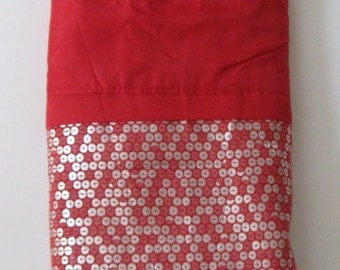 Craft Fabric Red Faux Sequin Accents