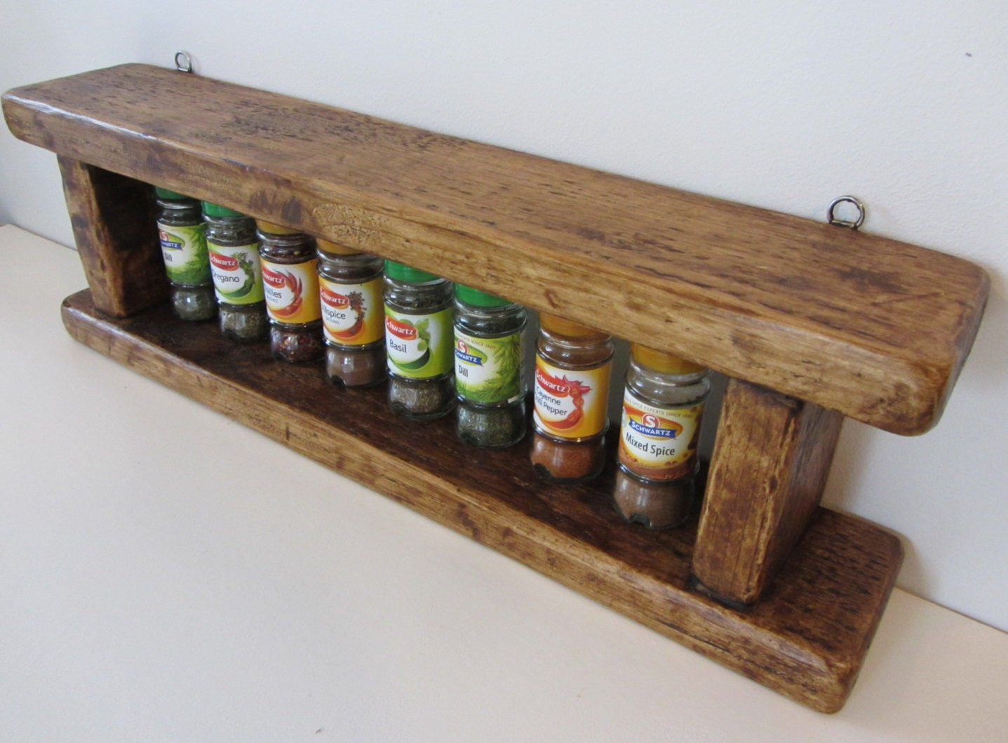 Rustic Reclaimed Plank Wood Spice Rack In Antique Brown