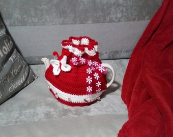 "Cute ""Little Red Bag"" Teapot Cosy - Crocheted with Ribbon and Beads to Fit a Medium Teapot"