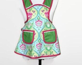 Kids apron, Childs apron, Retro inspired apron, Full apron, Wrap tie apron, Two Pocket Apron