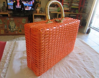 Vintage Orange Plastic Basket Weave Handbag/Vintage Purses/Vintage Kitsch Bags/Vintage Handbags