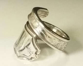 Silver Plated 1847 Rogers Bros. Spoon Ring, Handmade from antique silverware