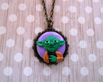 Handcrafted Artisan Polymer Clay Yoda Pendant Necklace / Star Wars Necklace Pendant