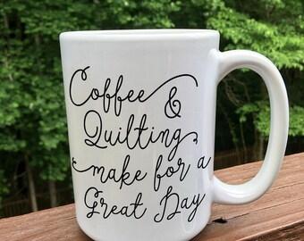 Coffee and Quilting / coffee mug / travel mug / sewing coffee mug / sewing gift / quilter gift / gift for her
