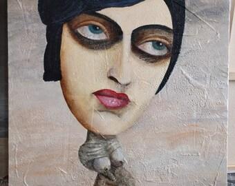 woman big head smokey eyes oil painting hand-made