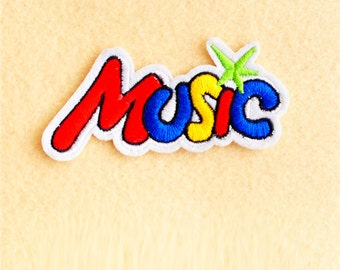 Music Patch - Iron on patch -Sew On patch - Embroidered Patch (Size 8.5cm x 4cm)
