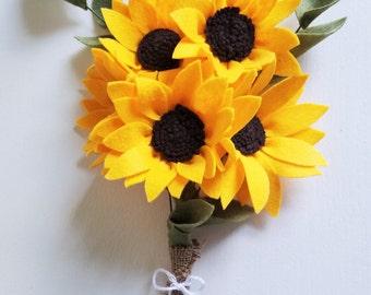 Sunflower Bouquet / Felt Flower Bouquet / Wedding Bouquet / Bridesmaid