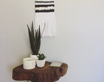 Hand Woven Yarn Wall Hanging-Black/White w/ Fringe