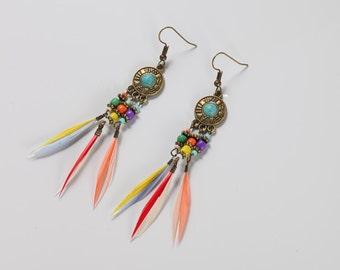 Rainbow Feather Bohemian Earrings
