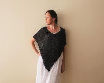 Knit poncho / Grey poncho / Summer Poncho / Knit Loose Poncho Clothing / Evening Dark Grey Poncho / Ready To Ship