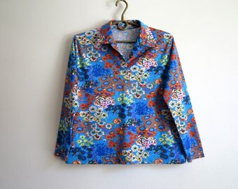 Blue Multicolor Blouse Floral Print Blouse Jersey Top Long Sleeves Shirt Size M