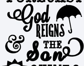 God Reigns and the son shines!  Car/ laptop/ cup decal