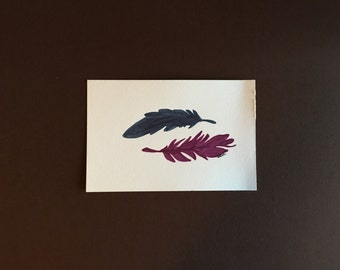 Watercolor Pen Feathers