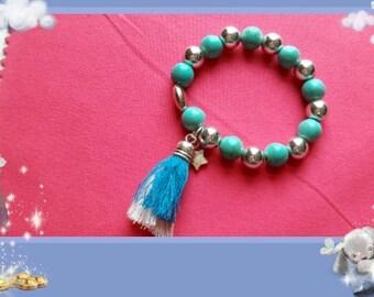 Girl child Boho turquoise beaded stretch tassel bracelet 5 > 7 years