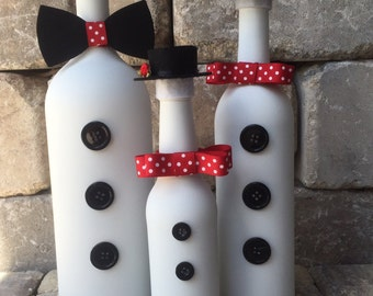 Snowman Family/ Christmas Decoration/Winter Decoration...Recycled Bottle/Handmade