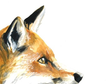 Fox watercolor print, Fox watercolor painting, Fox art print, Fox art, Fox print, Fox painting