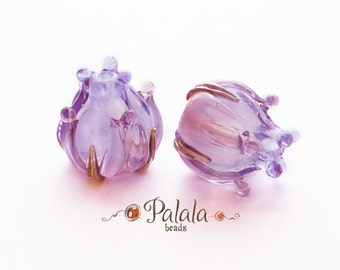 Pair of Handmade Lampwork Flower Bud Beads