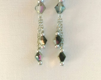 Black and silver crystal dangle earrings