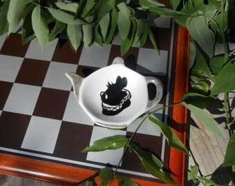 Teapot Shaped Tea Bag Holder Caddy - Alice in Wonderland - White Rabbit
