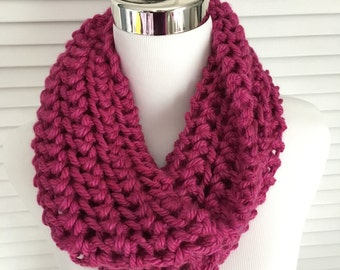 Pink Knitted Infinity Cowl Scarf