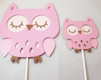 Pink Owl Cupcake Toppers 12ct