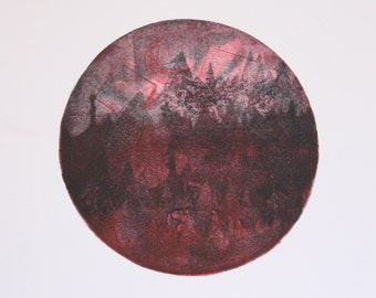 Untitled (pine landscape with moon)