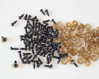 100Pcs (50pairs) 6mm Black Plastic Safety Eyes Toy Teddy Eyes Puppets Doll Crafts