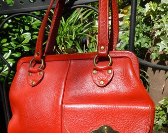 Roger Van S Mid Century Orange (Tomato Red) Handbag Purse Square Shaped with Brass Accents