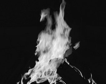 Campfire Black and White photography, fire, black and white, photography, fire photography, photography print, home decor, flame, firewood