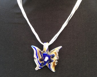 Blue and Gold Murano Glass Butterfly Pendant Necklace