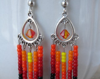 Flame Waterfall Earrings