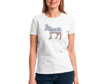 Hillary Clinton Ladies Shirt With Democracts Logo in Rhine Stone  2016 Campaign Soft and Quality Made Support Hillary Now