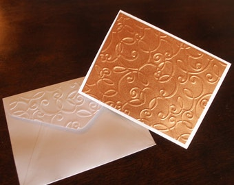 Curled Ribbon Note Card Hand Embossed Cards and Envelopes ITEM# FFNC1104