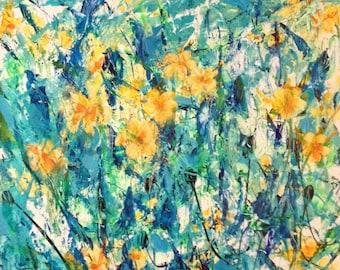 Yellow Flowers in Turquoise Garden