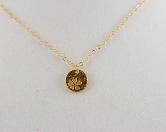 20% 14K Gold Fill Hammered Flower Charm Necklace BP4056