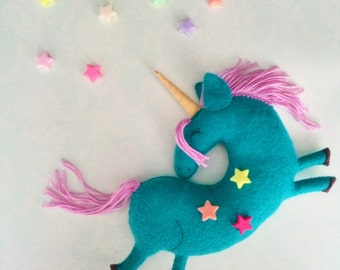 Personalized Baby gift Unicorn Felt animals Felt unicorn toys Unicorn plush Personalized toy Unicorn Sleeping toy Stuffed toy Felt ornaments