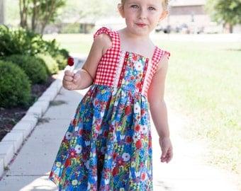 Girls 3T boutique floral gingham sundress OOAK