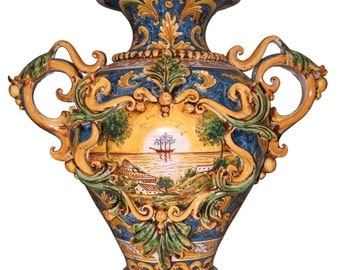 Polychromatic ornamental ceramic pots made in Caltagirone