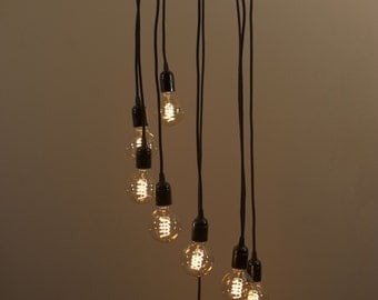 Spiral Edison bulb Chandelier with 9 Pendants