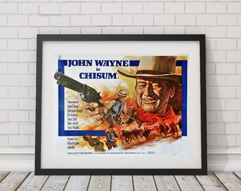 LARGE SIZE John Wayne / Chisum  / Old Western / The Duke / Vintage Movie Poster / Vintage Print / Big Poster / Big Print