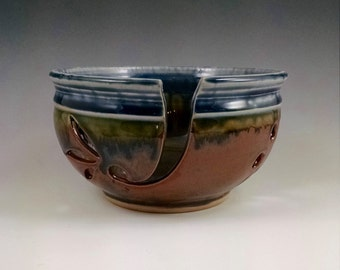 Blue Ash and Chocolate Yarn Bowl