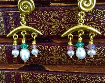 Etruscan style chandelier earrings