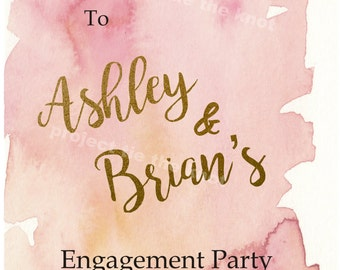 Engagement Party, Welcome Sign Printable Sign, Pink and Gold Watercolor