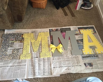 Letters, wall hanging for dorm or bedroom.