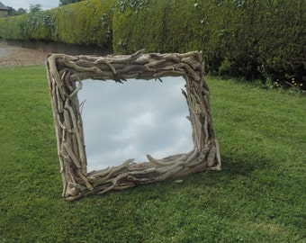 Driftwood framed mirror, handmade and made in Ireland