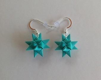 Moravian Star Earrings—Teal