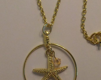 Starfish and Swarovski Crystal Gold Necklace